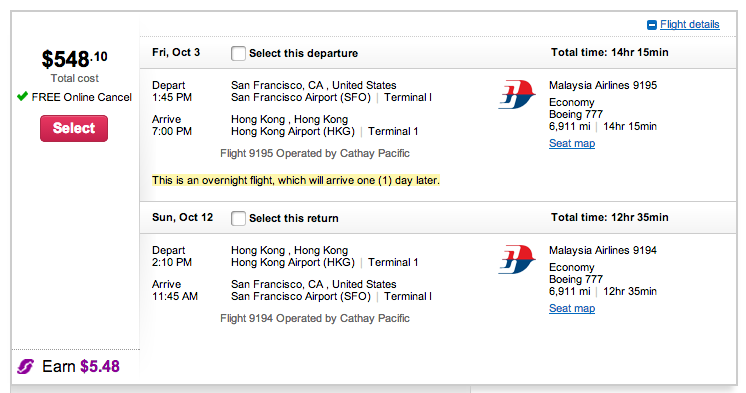 SFO-HKG for under $550 direct.