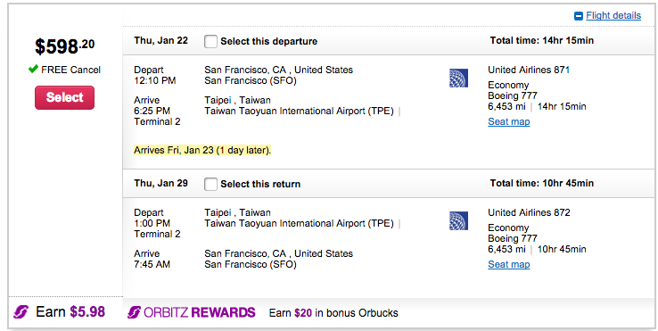 SFO-TPE $598 on United.
