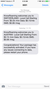 KnowRoaming Text Message Confirmations
