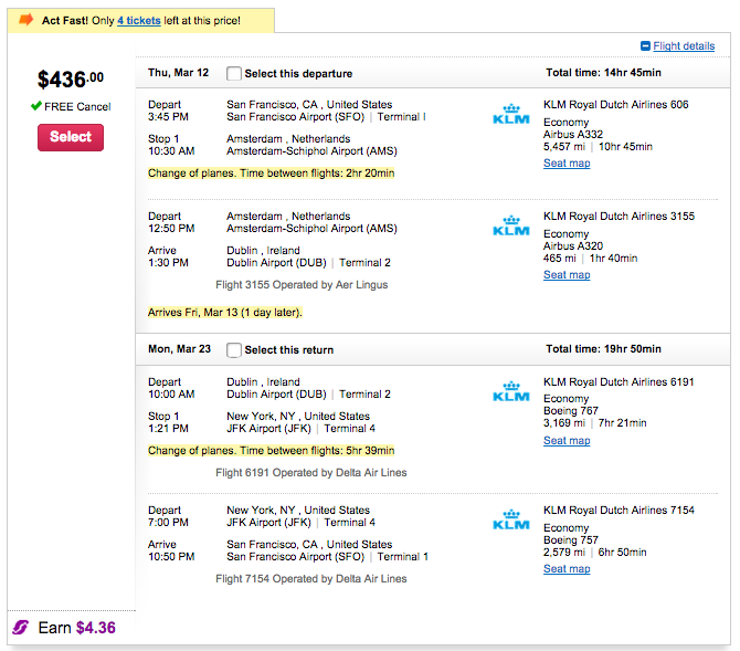 SFO-DUB example booking for $436!