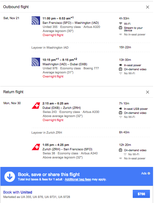 SFO-DXB for $766 Roundtrip.