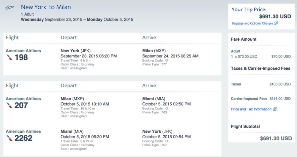 Sample Travel Dates