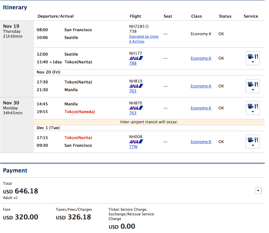 SFO-MNL Sample Booking