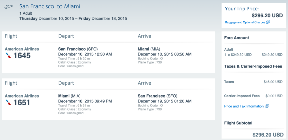 SFO-MIA Sample Booking